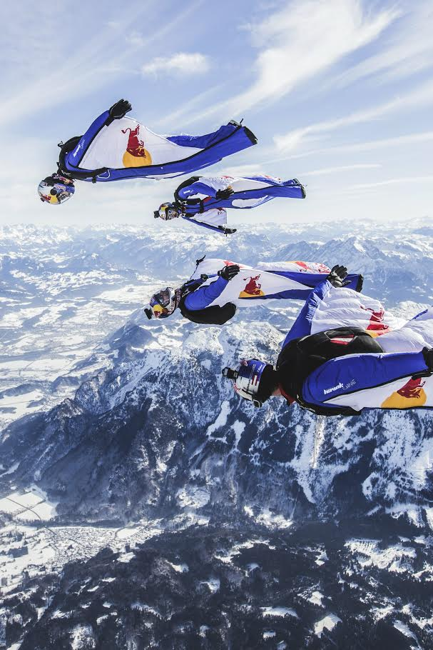 The Red Bull Skydive Team performs a wingsuit formation skydive above Salzburg, Austria on February 19th 2015 // Wolfgang Lienbacher / Red Bull Content Pool // P-20150608-00678 // Usage for editorial use only // Please go to www.redbullcontentpool.com for further information. //