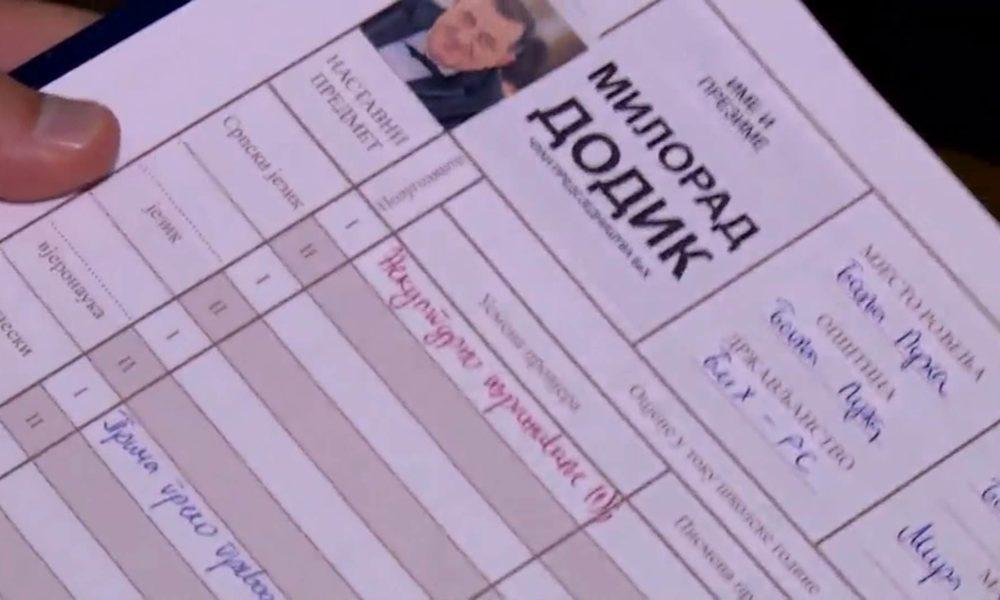 """Dnevnik Milorad Dodik 1000x600 - Ocjene Milorada Dodika u """"dnevniku"""" Draška Stanivukovića: Petica iz Hemije jer voli srebro, zlato"""