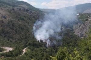 Požar u Trebinju, vatrogasci i mještani brane kuće